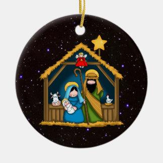 Nativity Stable Scene Ceramic Ornament