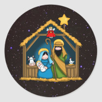 Nativity Stable Scene Classic Round Sticker