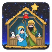Nativity Stable Scene Square Sticker