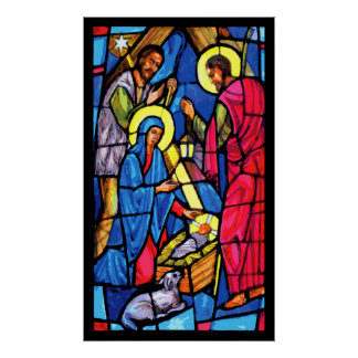 Nativity Stained Glass Christmas Posters
