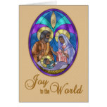 Nativity Stained Glass, Dark Skinned, Christmas Greeting Card