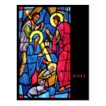 Nativity Stained Glass NOEL Post Card