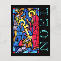 Nativity Stained Glass NOEL with Lamb and Shepherd Holiday Postcard