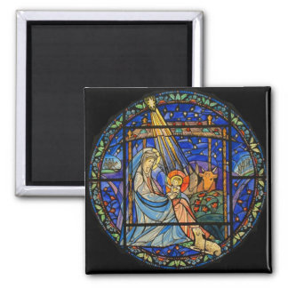 Nativity Stained Glass Window 2 Inch Square Magnet