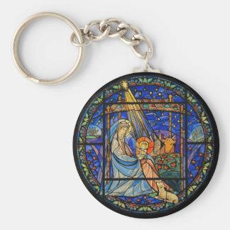 Nativity Stained Glass Window Basic Round Button Keychain