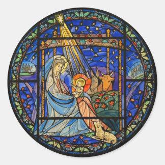 Nativity Stained Glass Window Classic Round Sticker