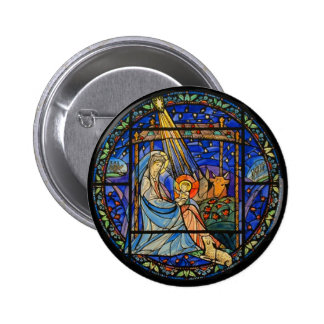 Nativity Stained Glass Window Pinback Button