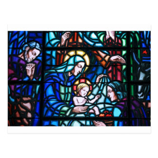 Nativity stained glass window postcard