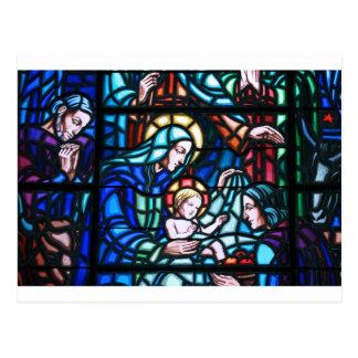 Nativity stained glass window postcard