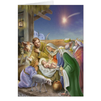Nativity story with apostles, Jesus, Mary and Jose Greeting Card