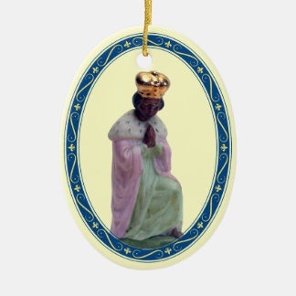 Nativity Three Kings 3 of 3 Double-Sided Oval Ceramic Christmas Ornament