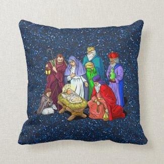 nativity throw pillow