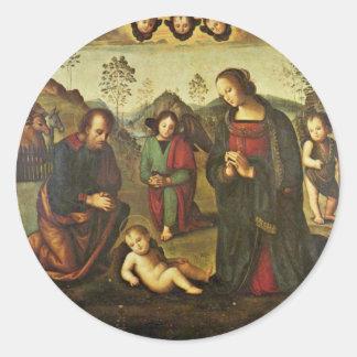 Nativity Tondo By Perugino Pietro (Best Quality) Round Stickers
