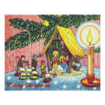 Nativity Under the Christmas Tree Canvas Print