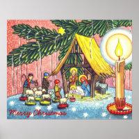 Nativity Under the Christmas Tree Canvas Print