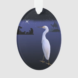 Nativity, Wise Men,  and Egret Bird Ornament