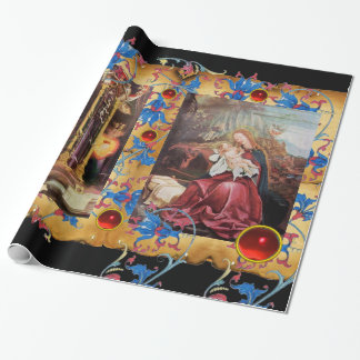 NATIVITY WITH ANGELS ,FLORAL CHRISTMAS PARCHMENT WRAPPING PAPER