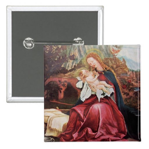 NATIVITY WITH ANGELS - MAGIC OF CHRISTMAS 2 INCH SQUARE BUTTON