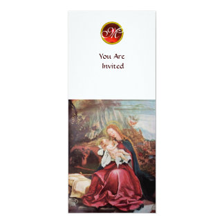 NATIVITY WITH ANGELS - MAGIC OF CHRISTMAS MONOGRAM 4X9.25 PAPER INVITATION CARD