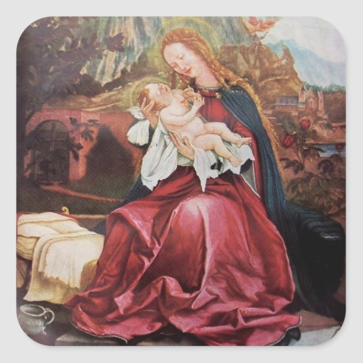 NATIVITY WITH ANGELS - MAGIC OF CHRISTMAS SQUARE STICKER