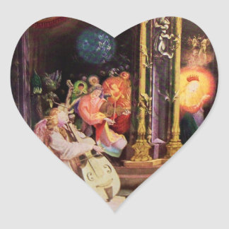 NATIVITY WITH MUSICAL ANGELS - CHRISTMAS HEART HEART STICKER