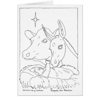 Nativity With Ox and Donkey Card