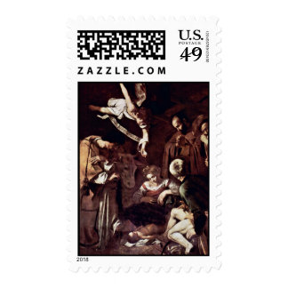 Nativity With St. Lawrence And St. Francis By Mich Postage Stamp