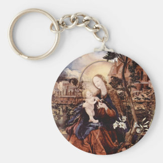 NATIVITY WITH WHITE LILLES - MAGIC OF CHRISTMAS BASIC ROUND BUTTON KEYCHAIN