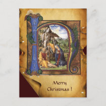 NATIVITY XMAS PARCHMENT Blue Sapphire Monogram Holiday Postcard