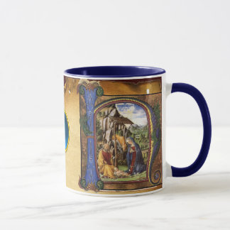 NATIVITYMONOGRAM CHRISTMAS PARCHMENT Blue Gem Mug
