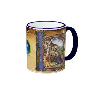 NATIVITYMONOGRAM CHRISTMAS PARCHMENT Blue Gem Ringer Coffee Mug