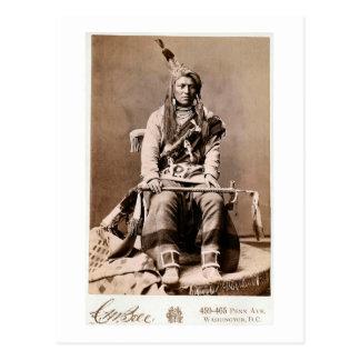 Nativo americano 1880 del vintage del indio del cu postal