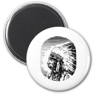 Nativo americano blanco imán para frigorifico