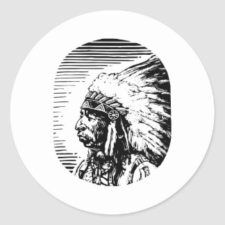 Nativo americano blanco pegatinas redondas