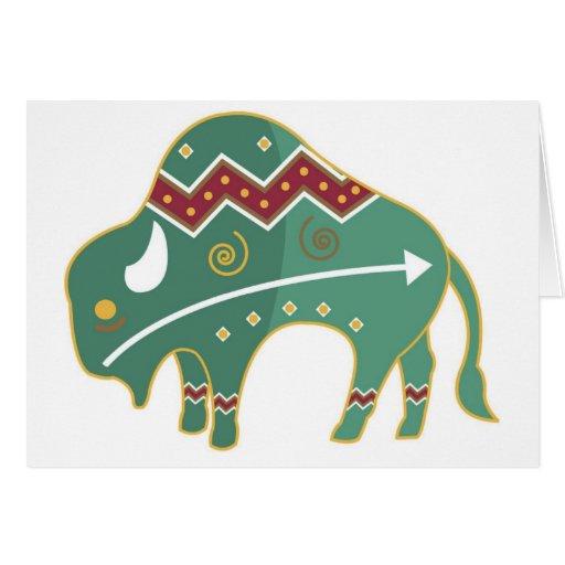 Nativo americano de la imagen del búfalo de la tar tarjeta de felicitación