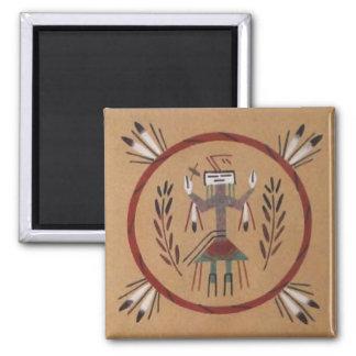 Nativo americano de la pintura de arena tribal imán cuadrado