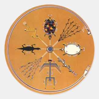 Nativo americano de la pintura de arena tribal pegatina redonda