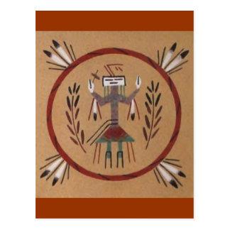 Nativo americano de la pintura de arena tribal postales
