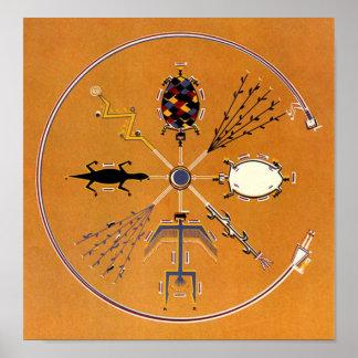 Nativo americano de la pintura de arena tribal póster