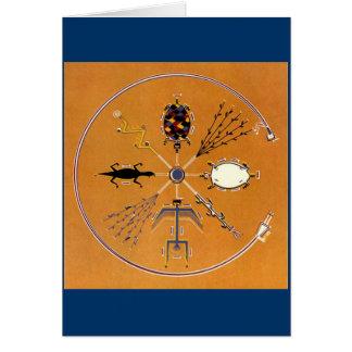 Nativo americano de la pintura de arena tribal tarjeta de felicitación