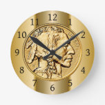 Nativo americano del ~ de la moneda de oro del búf reloj de pared