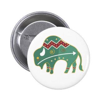 Nativo americano del diseño del búfalo del botón