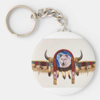 Nativo americano del escudo del lobo llavero personalizado