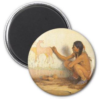 Nativo americano del vintage, artista indio por imán redondo 5 cm