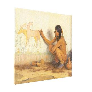 Nativo americano del vintage, artista indio por impresiones en lienzo estiradas