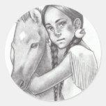 Nativo americano etiqueta redonda