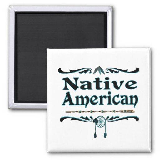 nativo americano imán cuadrado
