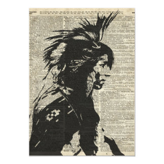 """Nativo americano indio sobre una página vieja del invitación 5"""" x 7"""""""