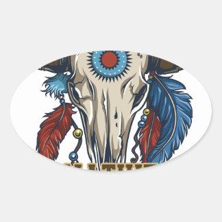 Nativo americano orgulloso pegatina ovalada