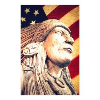 nativo americano patriótico de la bandera rústica  papelería personalizada